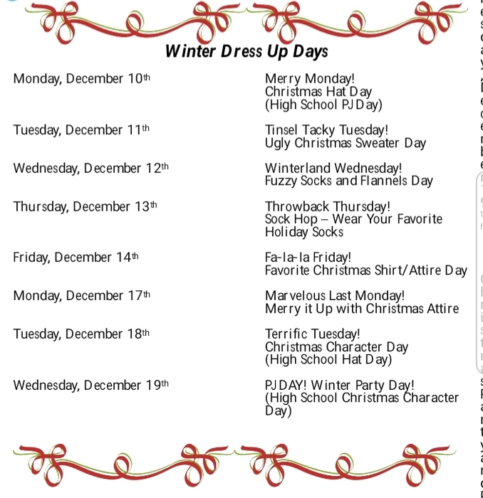 Winter Dress Up Day Schedule