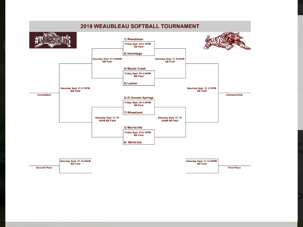 Updated Weaubleau Tournament Bracket