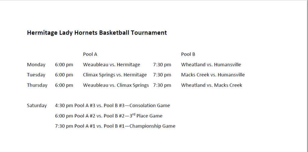 Hermitage Tournament Bracket