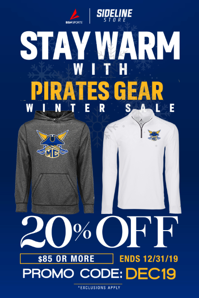 Stay Warm with Pirates Gear Winter Sale 20% OFF %85 OR MORE PROMO CODE DEC 19
